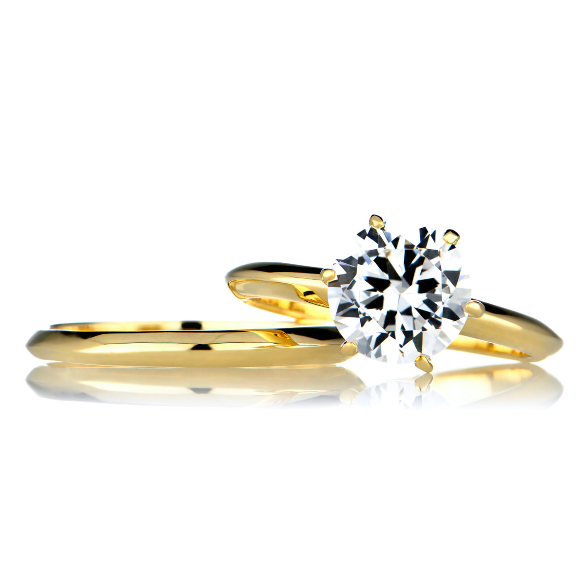 2 carat round cut cz gold wedding ring set