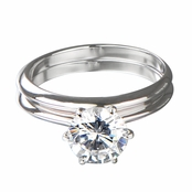 Jackie's 2 Carat Round Cut CZ Silvertone Wedding Ring Set
