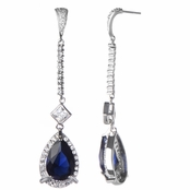 Jackie's Antique Pear Drop Blue CZ Dangle Earrings