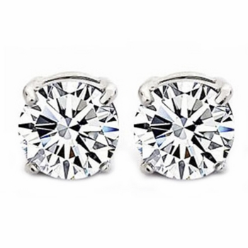 6mm Round Cut Cubic Zirconia Magnetic Stud Earrings