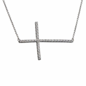Janaya's CZ Pave Sideways Cross Necklace