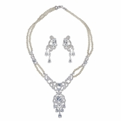 Janice's Vintage Faux Pearl & CZ Necklace Set