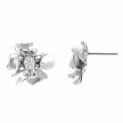 Janna's Silvertone Flower Stud Earrings