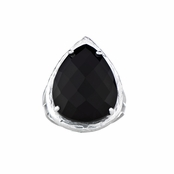 Jayde's Black Stone Faceted Pear Cut Cocktail Ring