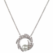 Jean's Wedding Imitation Pearl and CZ Charm Necklace