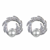 Jean's Wedding Imitation Pearl and CZ Stud Earrings
