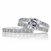 Jenny's Premium Asscher CZ Wedding Ring Set