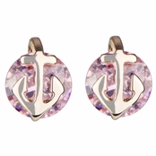 Jessie's Pink CZ and Goldtone Anchor Stud Earrings