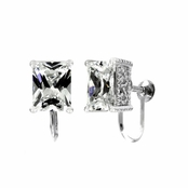 Jessika's Screw Back Earrings - Emerald Cut CZ