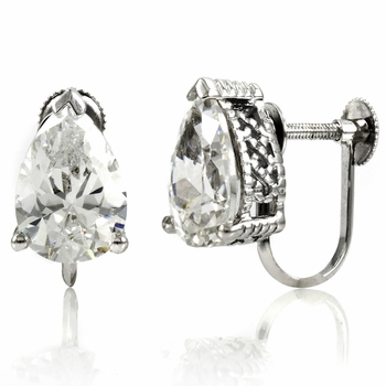 Jessika's Screw Back Earrings - Pear Cut CZ
