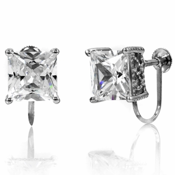 Jessika's Screw Back Earrings - Princess Cut CZ