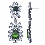 Jonita's Green and Clear Rhinestone Fancy Earrings