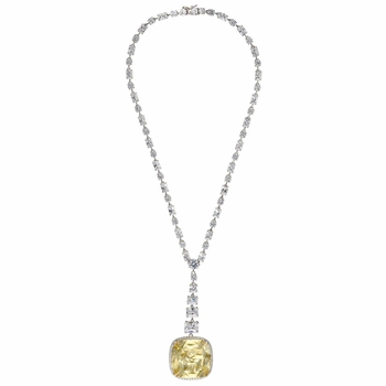 Josephine's Fancy Cushion Cut Canary CZ Tennis Necklace