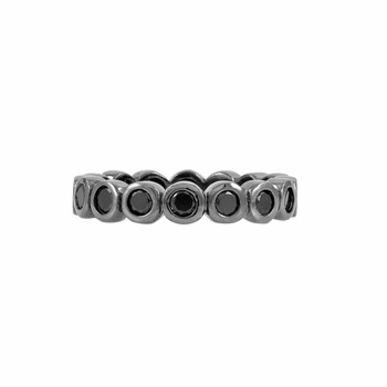 Joy's Silvertone Eternity Ring - Black CZ