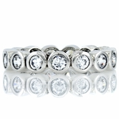 Joy's Silvertone Eternity Ring - Clear CZ