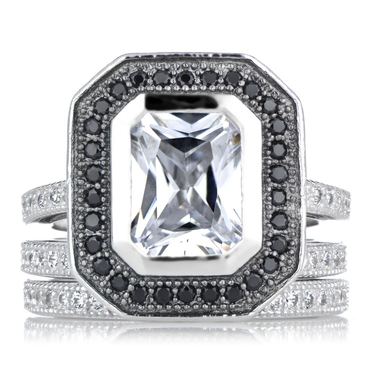 juanas cubic zirconia wedding ring set with black halo roll off image to close zoom window - Cubic Zirconia Wedding Rings