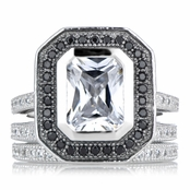 Juana's Cubic Zirconia Wedding Ring Set with Black Halo