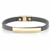 Jude's Magnetic Grey Leather Bracelet
