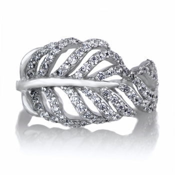 Judith's CZ Leaf Ring Band