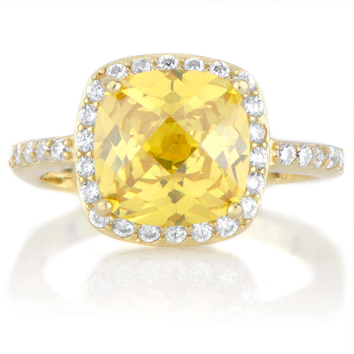 Julianna's Simulated Canary Simulated Diamond Ring  Goldtone Roll Off  Image To Close Zoom Window