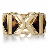 Kali's Goldtone and Leopard Fashion Stretch Bracelet