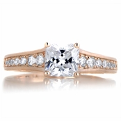 Kalma's 2ct CZ Rose Goldtone Princess Cut Engagement Ring
