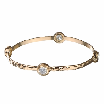 Kami's CZ & Hammered Metal Bangle Bracelet