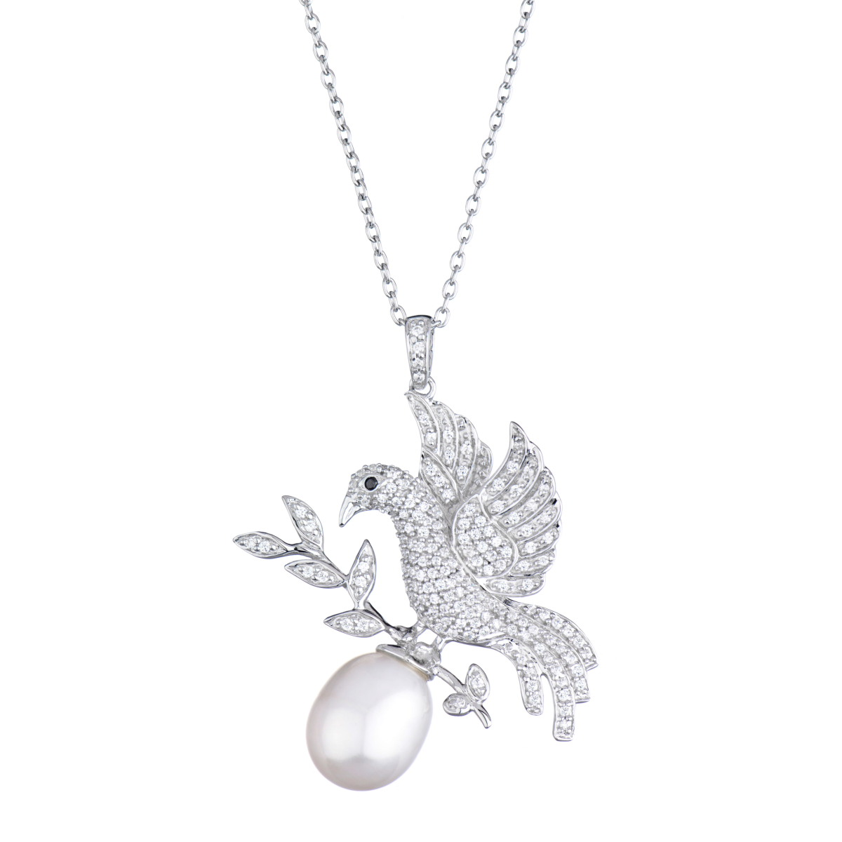 Pendant necklace all collections of necklace illa pendant necklace genuine stone bird pearl necklace mozeypictures Image collections