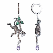Kanya's Brown Monkey Purple CZ Dangle Earrings