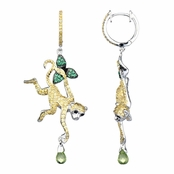 Kanya's Yellow Monkey Green CZ Dangle Earrings