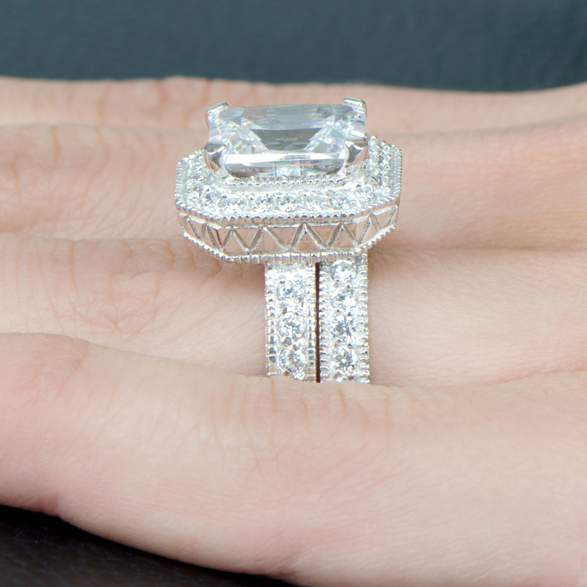 Karianne's Vintage Halo Emerald Cut Cz Wedding Ring Set