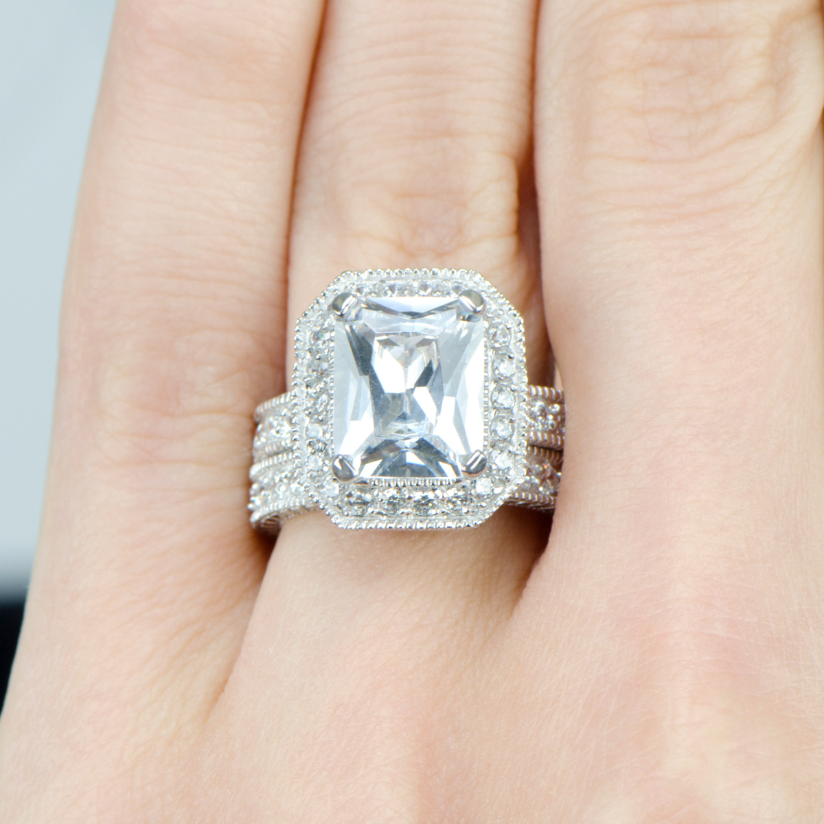 gwczcucutesr vintage wedding ring sets Karianne s Vintage Halo Emerald Cut CZ Wedding Ring Set