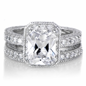 Vintage Emerald Cut CZ Wedding Ring Set - Petite 2.5 Carats