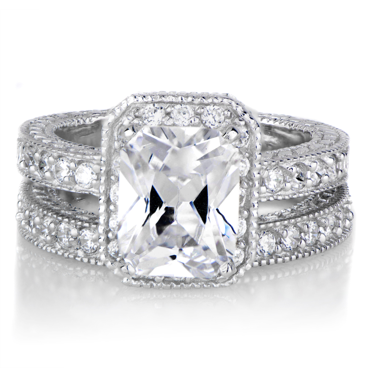 Emerald Cut CZ Wedding Ring Set Petite 25 Carats