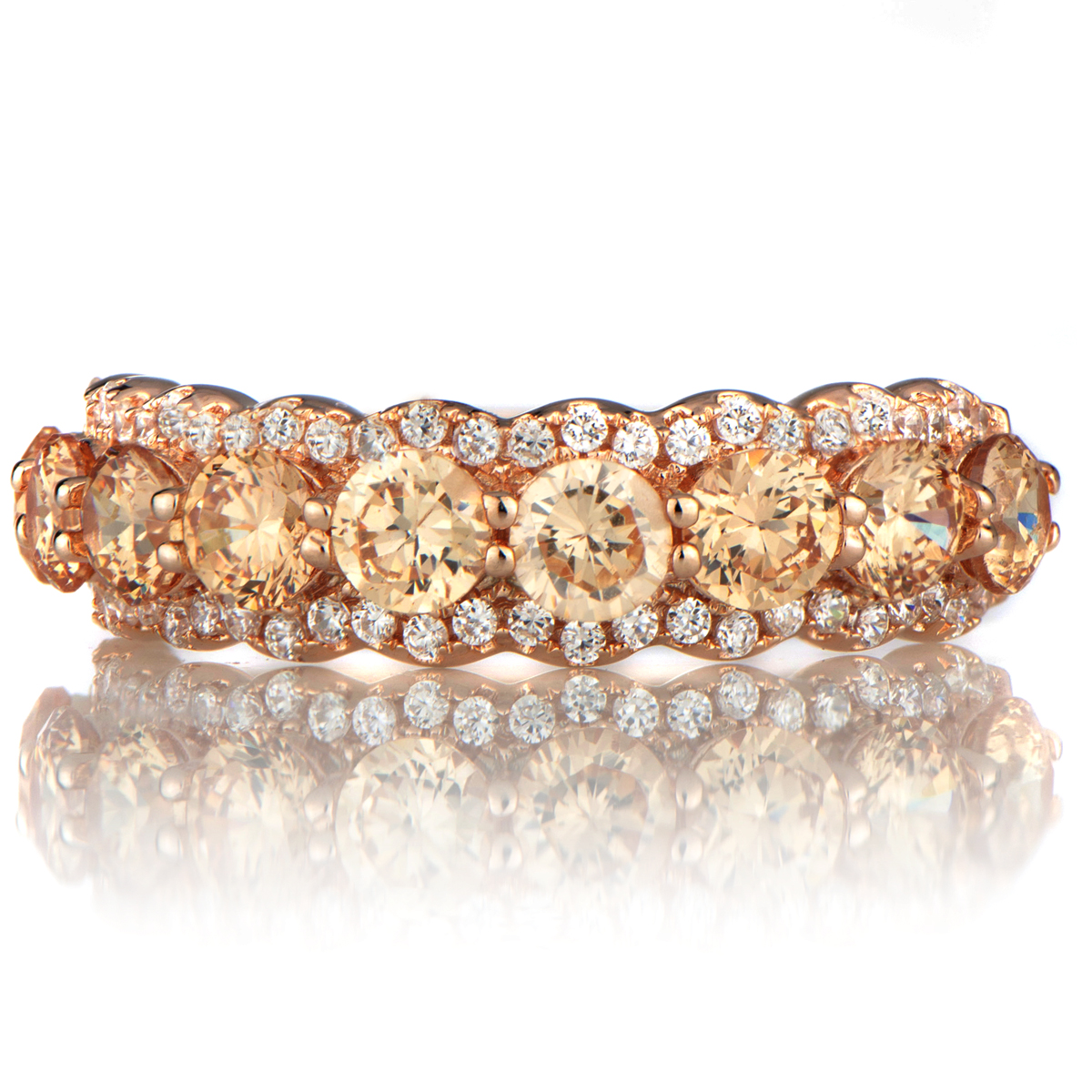 rose gold cz wedding band cz wedding band CZ Wedding Ring Band Roll Off Image to Close Zoom Window