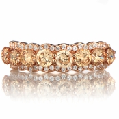Karita's Rose Goldtone & Champagne CZ Wedding Ring Band