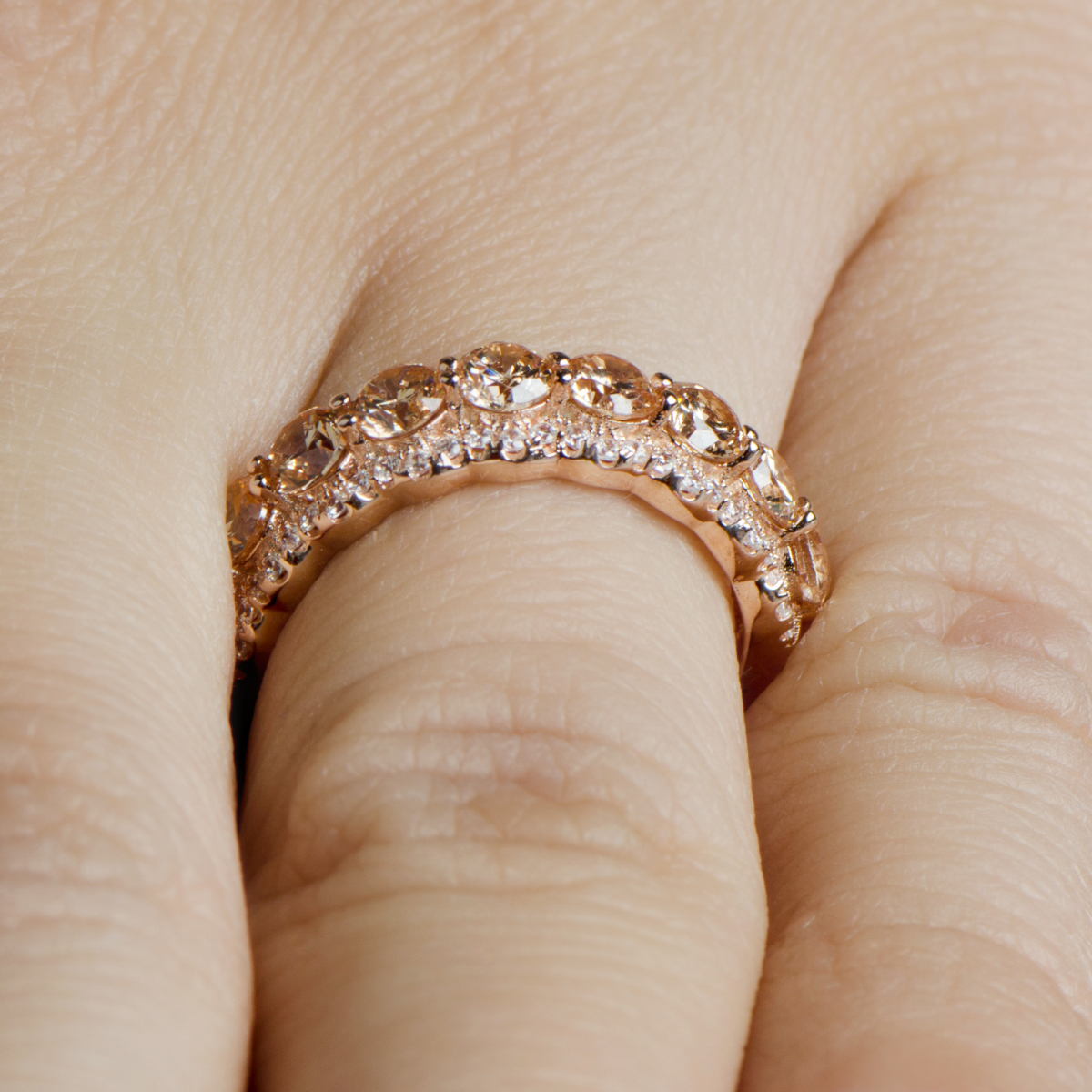 Karita S Rose Gold Champagne Cz Wedding Band 15 Jpg
