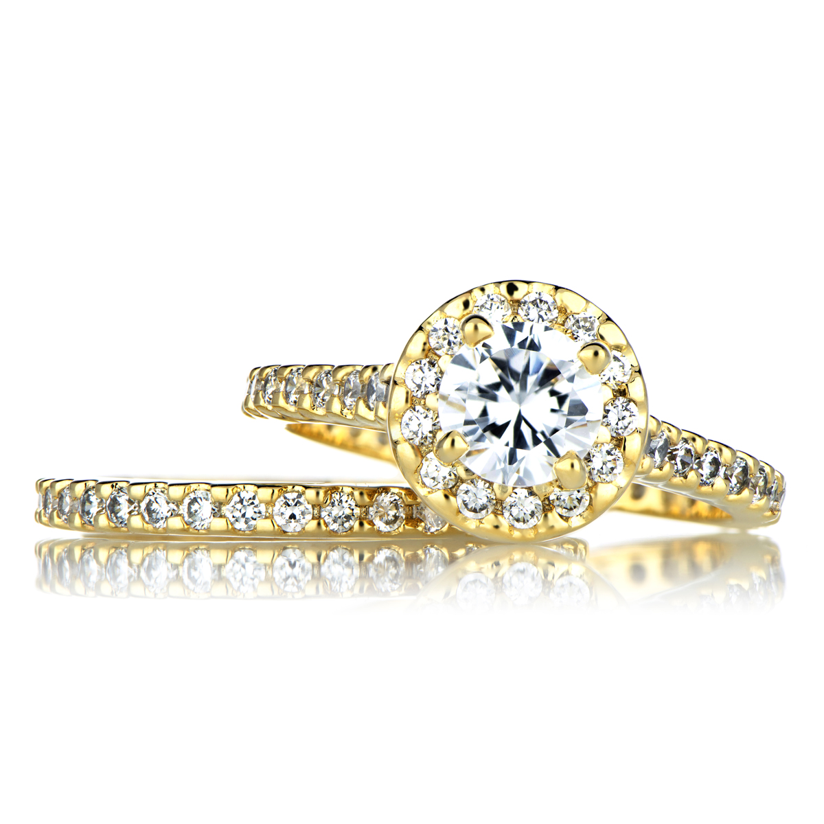 gold cubic zirconia wedding ring set|emitations
