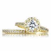 Kat's Goldtone Cubic Zirconia Wedding Ring Set