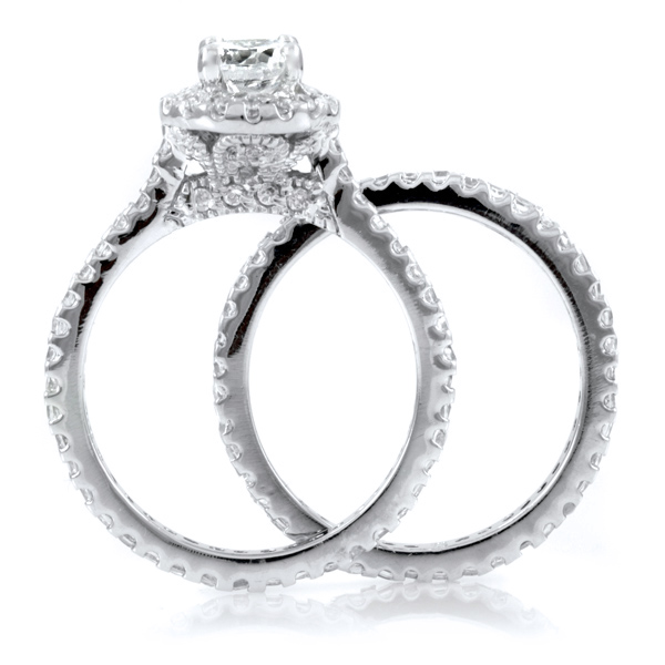 kats pave cz wedding ring set - Cubic Zirconia Wedding Rings That Look Real