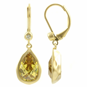 Normani's Pear Drop Yellow CZ Earrings - Goldtone