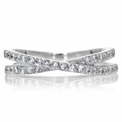 Katherine's Cubic Zirconia Double Row Crossed Anniversary Ring