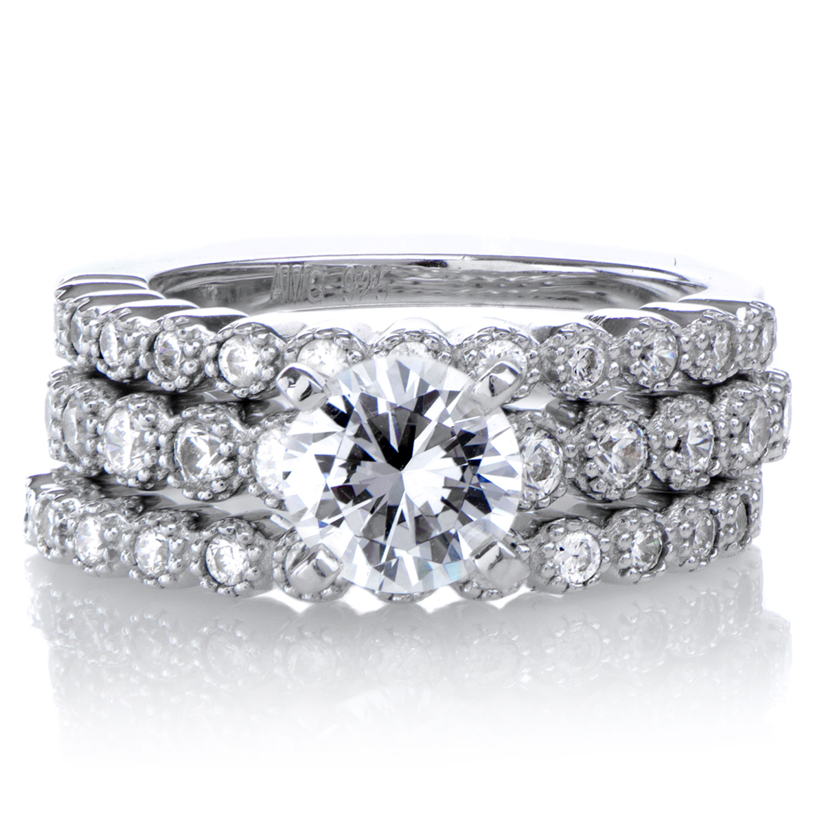 cubic zirconia round wedding ring set triple band wedding ring Roll Off Image to Close Zoom Window