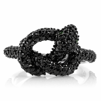 Katrina's Knotted snake Ring - Black CZs