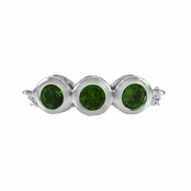 Kay's May Imitation Birthstone Chain Link Triple Stone Ring - Green CZ, Rhodium Plated
