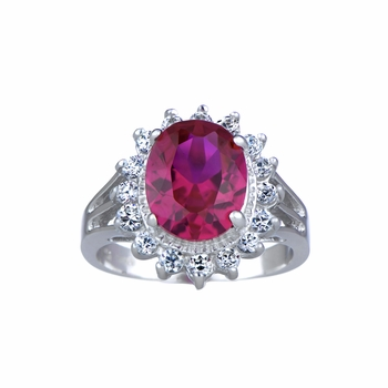 Kayla's Fancy CZ Right Hand Ring - Red