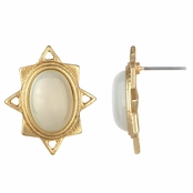 Kazia's Goldtone Starburst Imitation Moonstone Stud Earrings