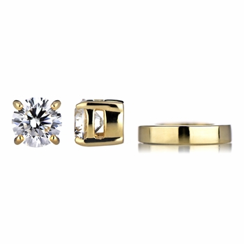 Keandra's Goldtone Non Pierced Magnetic Earrings - Clear CZ Studs