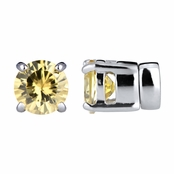 Keandra's Yellow Non Pierced Magnetic Earrings - CZ Studs