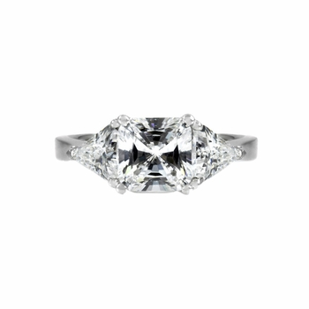 Keane's Engagement Ring - 3 Stone Princess & Trillion Cut CZ